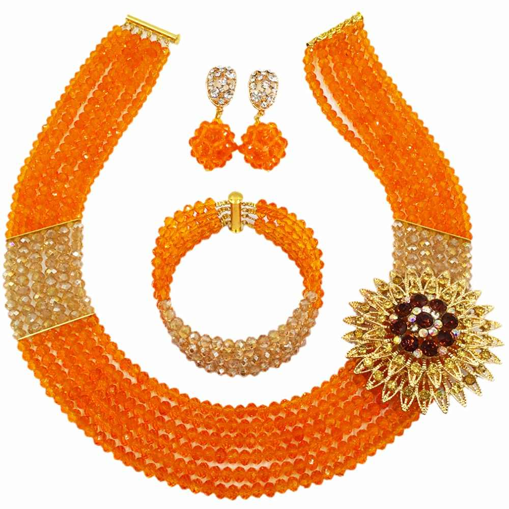 Fashion Orange Gold Multi Strands Beads Necklace Sets Nigerian Wedding African Beads Jewelry Set Crystal 6-SS11