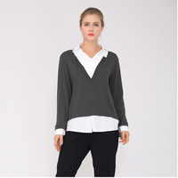 Korean New Autumn Shirt Women Pullover Top Tunic V neck Knitted Chiffon Splicing Fake Two Ladies Tops Casual Winter Blouse J372