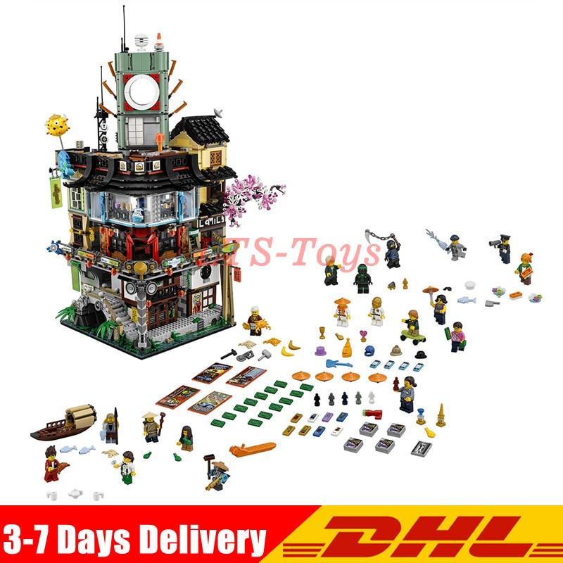 цены на DHL Lepin 06066 4932pcs City Series Ninja Masters of Spinjitzu Model Building Blocks Kids Toys Bricks Compatible Legoings 70620