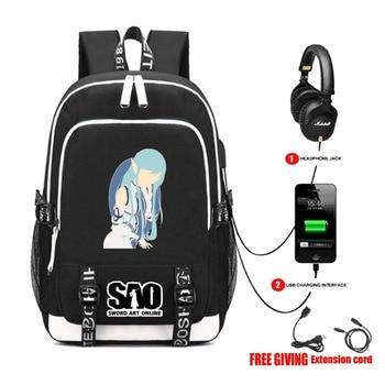 USB Di Ricarica Jack Per Cuffie Adolescenti Borsa Da Viaggio Del Computer Portatile Del Sacchetto Di Spalla Studente Libro Zaino Per Anime Spada Arte Online Zaino