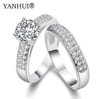YANHUI New Trendy Real White Gold Filled Two Engagement Ring Women CZ Diamant Fashion Jewelry Wedding Rings For Women YR502