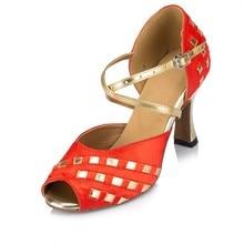 Mujer danza Zapatos mujer satén Latino Salón danza Zapatos más tamaño chica  salsa tacón alto Zapatos 8.3  6 cm 1794 ef4ee0951ee2
