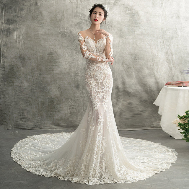 d7ac042075 Backless Small Size Champagne Mermaid Wedding Dress Slim France Lace  Appliques On Tulle With Buttons Pearls Fishtail Bridal Gown