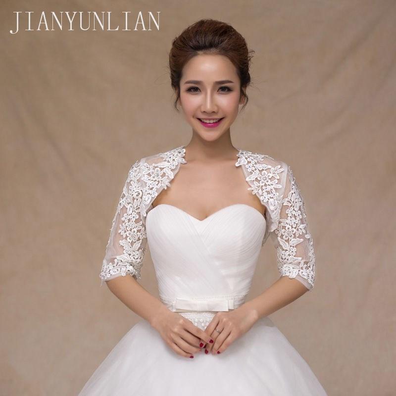 New Ivory Half Sleeve Wedding Jacket Lace Bridal Bolero Shrugs Wraps Capes Stock One Size 2020 Appliques Wedding AccessoryWedding Jackets / Wrap   -