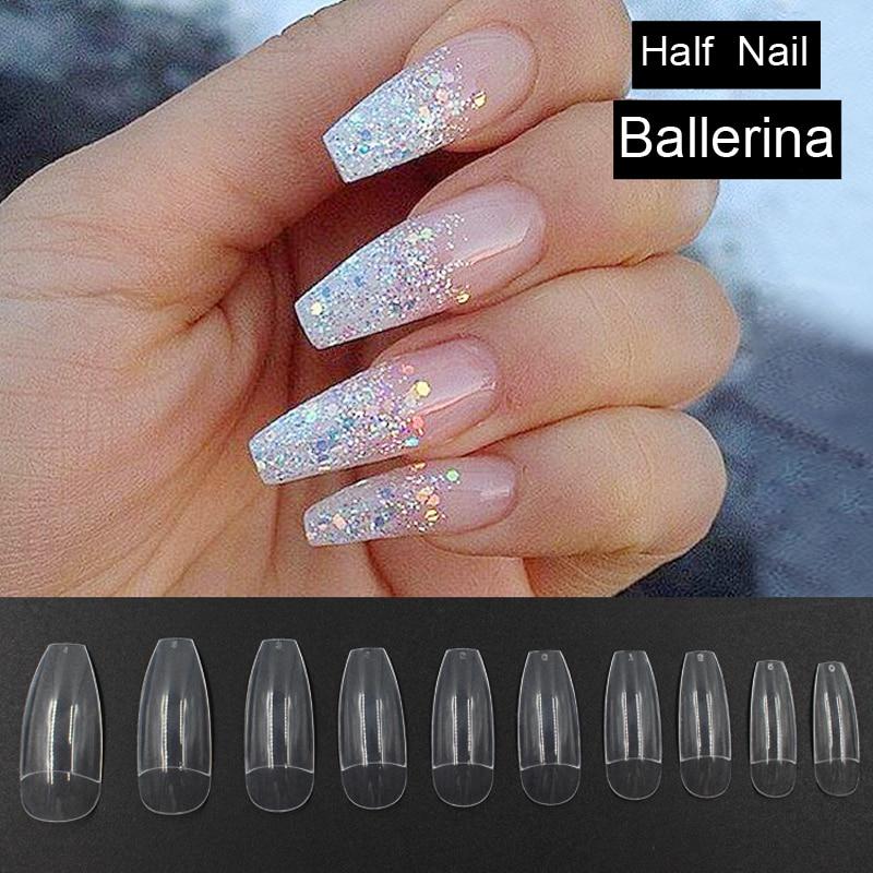 Artificial Nail Tips: 500pcs Transparent Long Fake Nails Ballerina Half Nail