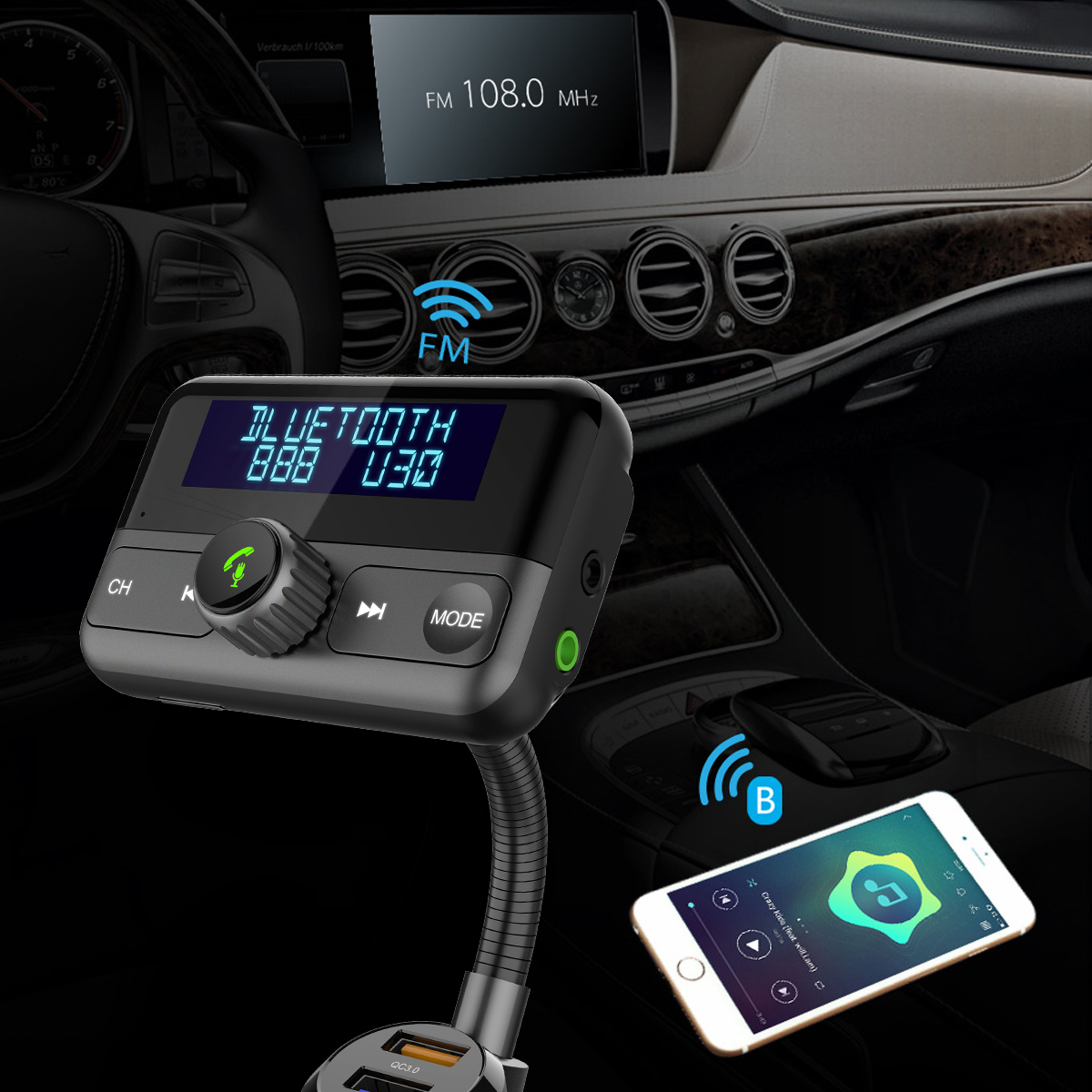 Image 5 - BT75S Bluetooth FM Transmitter YES/NO voice control Handsfree Call Car Kit with MP3 Player Dual USB Quick charge 3.0 Car Charger-in FM Transmitters from Automobiles & Motorcycles