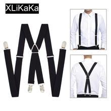 Мужские подтяжки сплошной цвет черный полиэстер эластичный взрослый пояс X-shape подтяжки с 4 зажимами для женщин для свадебной вечеринки