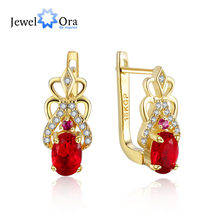 Top Quality Gold Hoop Earrings Copper Simple Romantic Party Red Cubic Zirconia Jewelry For Women Hot Sale (jewelora EA102934)(China)