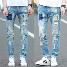 Fashion 2015 new ripped skinny jeans mens personality rock style jean pant slim skinny pants distressed  jeans 28-36