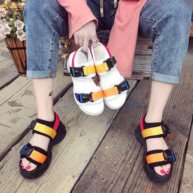Women Sandals Platform Ankle-Strap Open-Toe Fashion Beach Outdoor Low Shoes Concise