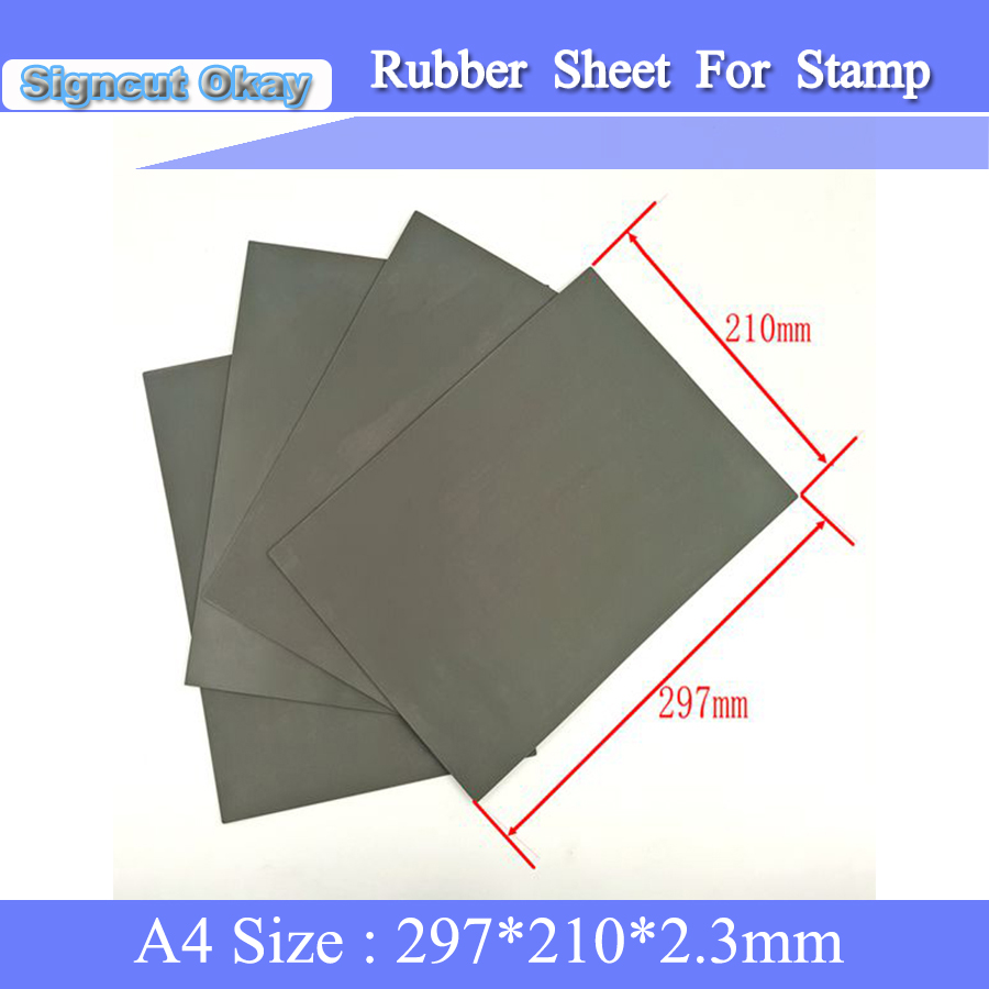 Free Shipping 5PCS/lot A4 Size 297*210*2.3mm Rubber Sheet Rubber Stamp Used For Laser Engraving Cutting