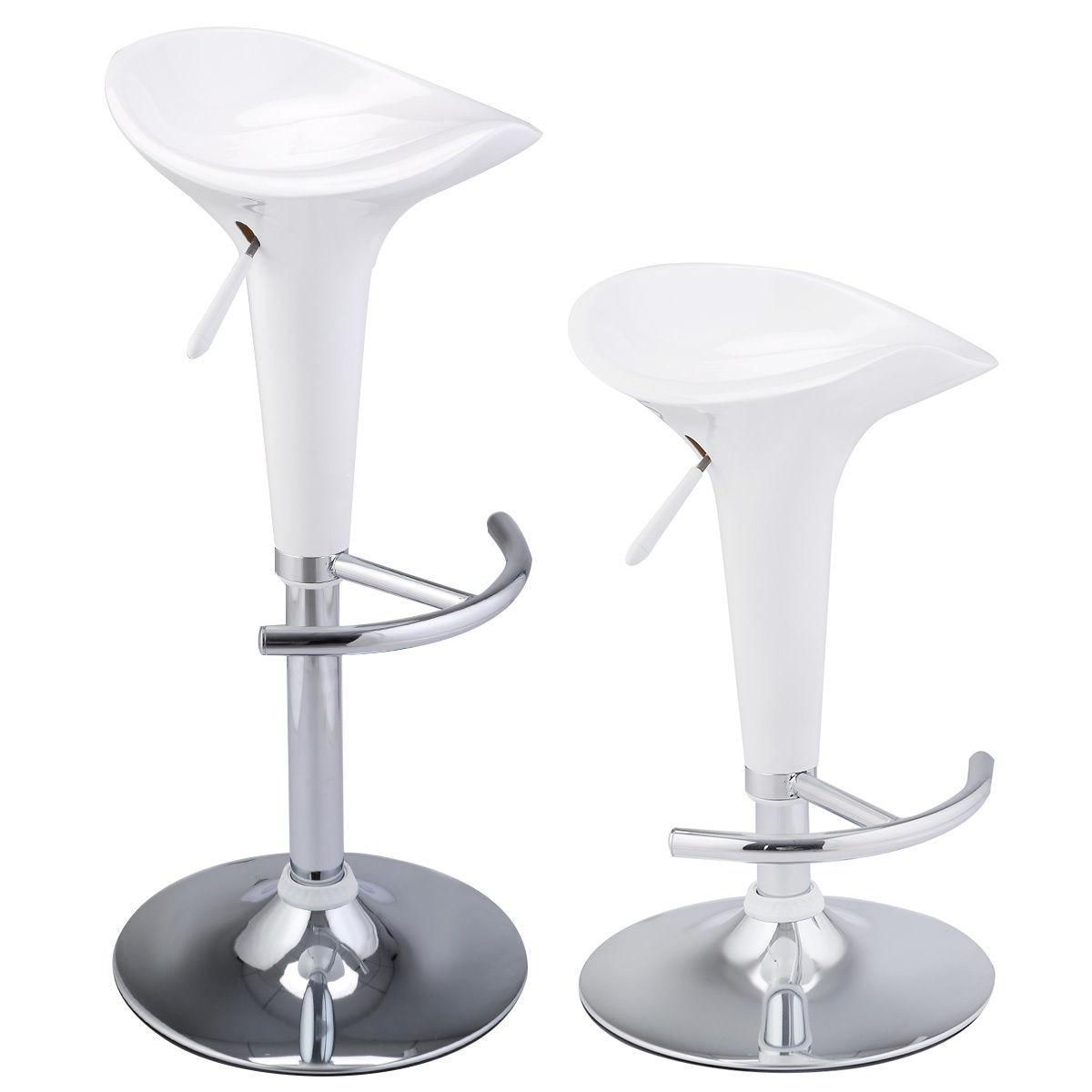 Giantex 2 Pcs Modern Bombo Style Swivel Barstools Adjustable Counter Chair Bar Stools White Pub Lifting Furniture HW51432WH