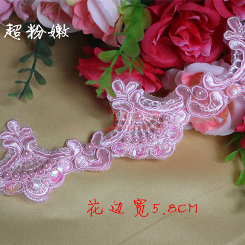 180cm Vintage Embroidered Lace Trim Beaded Ribbon Wedding Applique DIY Sewing Craft For Bridal Garment Accessories Wedding Veil in Lace from Home Garden