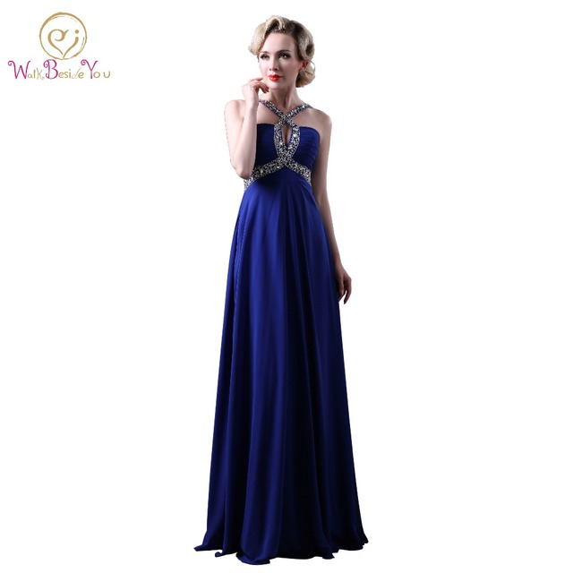 Royal Blue Plus Size Dresses Evening Gowns Spaghetti Straps Backless ...