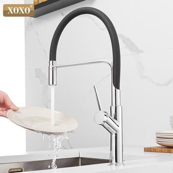 XOXO Kitchen Faucet Pull out Silver Single Handle Single Handle Mixer Tap Sink Faucet 360 Rotation Kitchen Faucets 1347