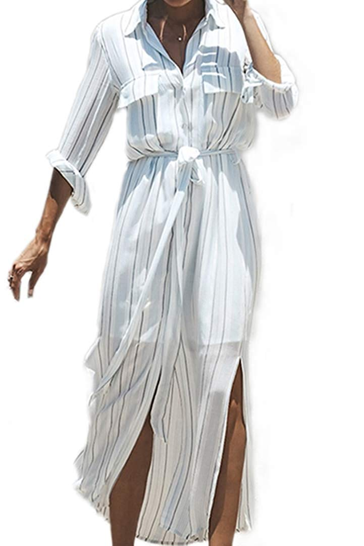 Femmes revers manches longues rayures verticales longue robe boutonnée auto-cravate taille chemise robe avec poche