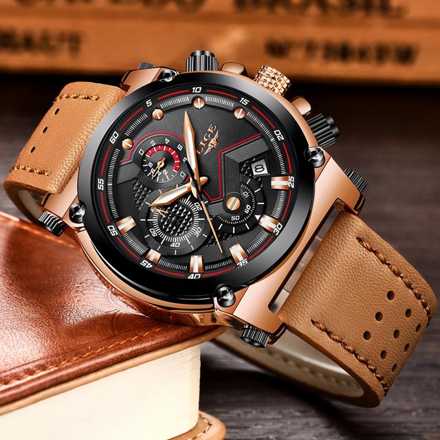 LIGE Men Sport Watches Top Brand Luxury Casual Quartz Watch Men Genuine Leather Military Waterproof WristWatch Relogio Masculino