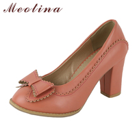 Meotina Pumps Women Shoes High Heels Bow Party Shoes Ladies Pink Sewing Thick High Heel Pumps