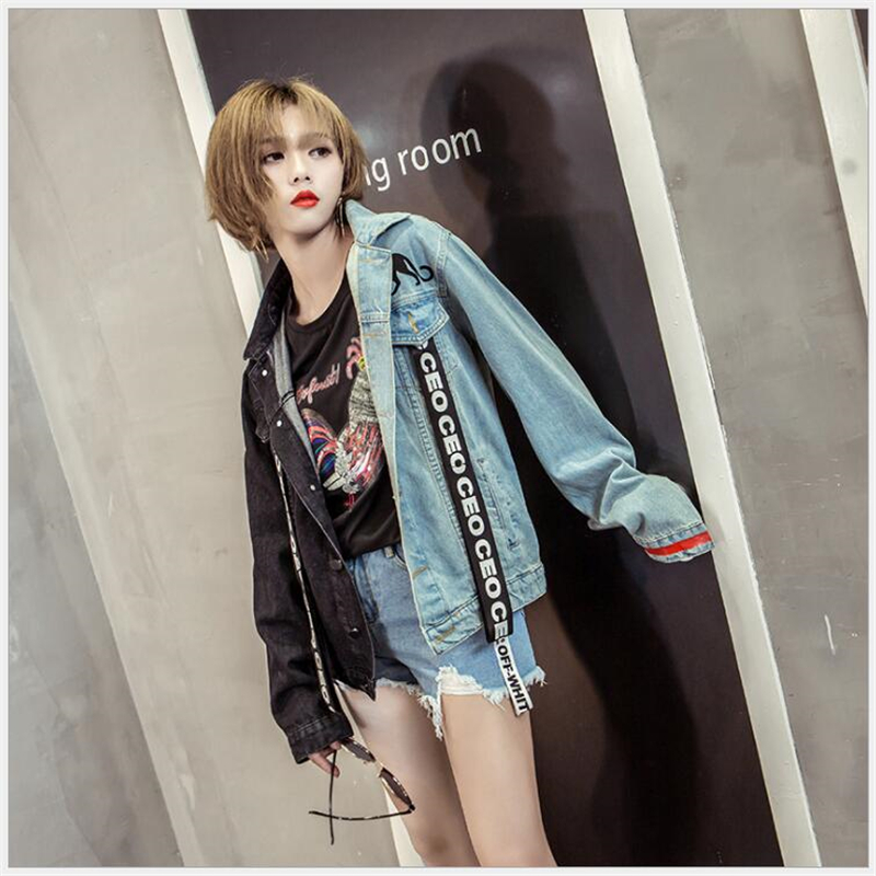 Women Autumn Winter Spring Patchwork Denim Jacket Female Coats Long Sleeve Loose plus Size Sweatshirts Clothes outerwear k263