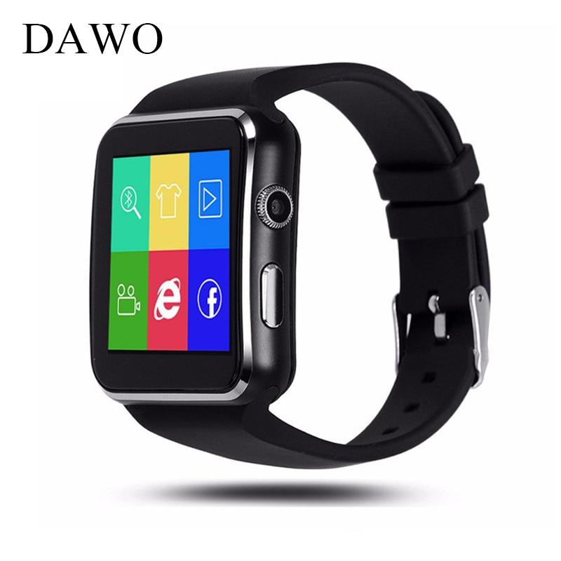 DAWO Bluetooth Smart Watch in X6 Inseguitore di Fitness di Sincronizzazione Messaggio Smartwatch per iPhone Android Con La Macchina Fotografica di Sostegno SIM Card Carta di TF