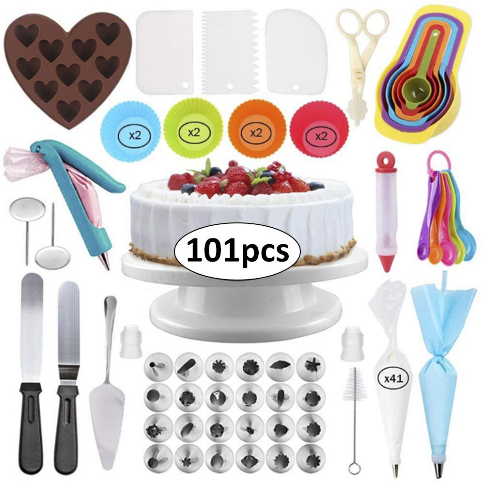 101 Piece Cake Turntable Set Piping Nozzle Silicone Cake Mold Scraper For Kitchen