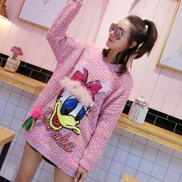 2019 fashion hip hop casual winter bright silk sequins tassels age Donald Duck knit thick sweater explosion models
