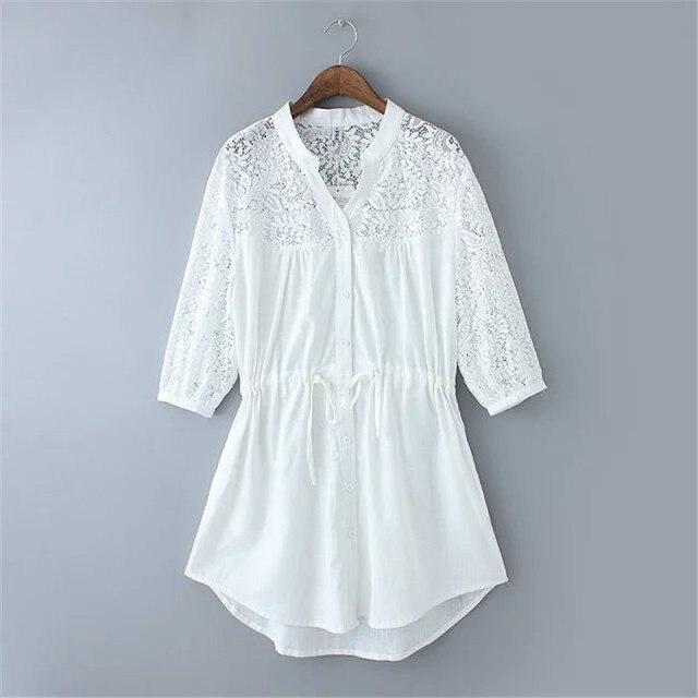 9fc9e28591d45f NEW White Collar Neck Women Blouse Designs 3XL Big Size Embroidery Star  Cotton Girls' Half