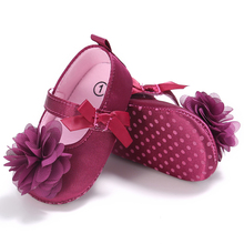 Spring and Autumn Summer Newborn Toddler Shoes Baby Girls Princess Purple Flowers First Walking Shoes Non-slip Cute Bebe Shoes