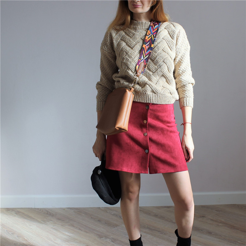 Neophil 19 Winter Women Suede Button Mini Vintage Style A Line Skirts High Waist Black Wrap Ladies Short Skirt Tutu Saia S1001 5