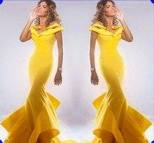 Neue Ankunft Meerjungfrau Abendkleid 2016 Flügelärmeln V-ausschnitt Gelb Abendkleid Bodenlangen Abendkleid Türkei Vestido de Novia