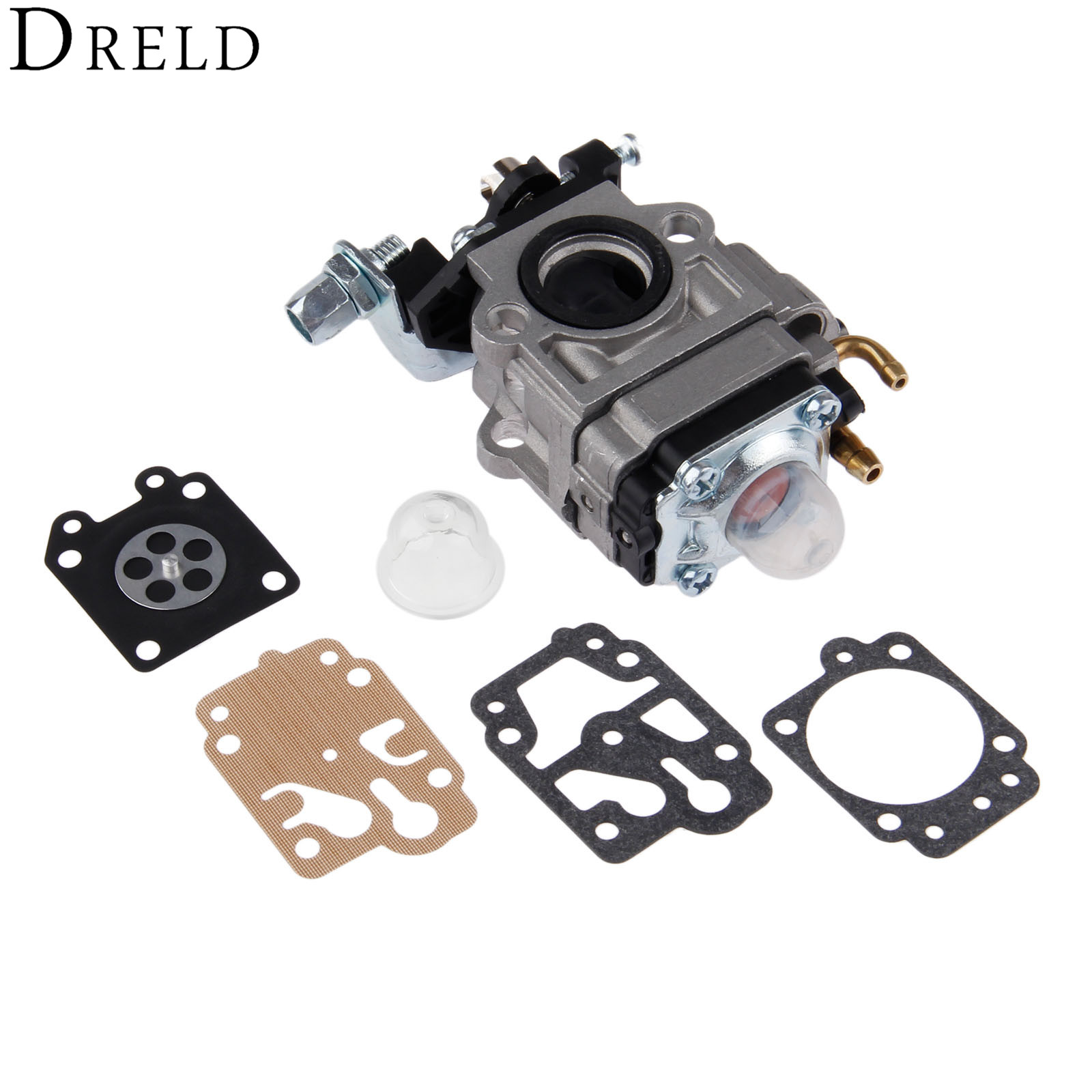 DRELD Grass Trimmer Carburetor with Repair Kits for DMP15 43CC 52CC CG430 CG520 BC430 BC520 Chinese Brush Cutter
