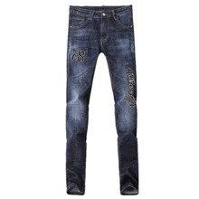 2017 весна новый стиль мужская повседневная мода печати джинсы мужчин высокое качество прямой синий 100% хлопок джинсы размер 29-36