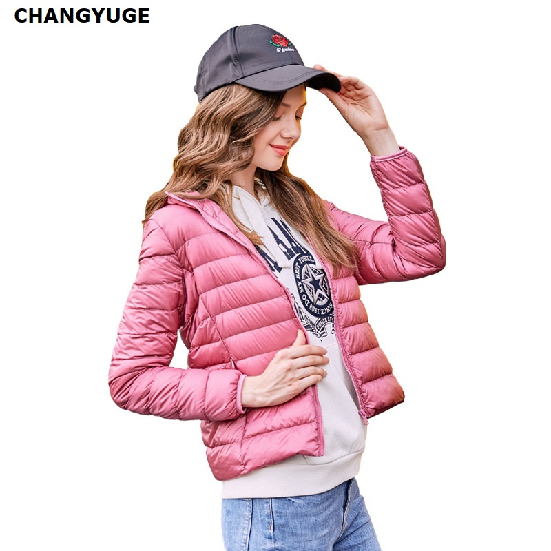 CHANGYUGE 2018 New Autumn Women Ultra Light White Duck   Down   Jacket Short Design Slim Plus Size M-3XL Warm   Down     Coats