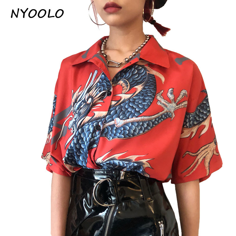 NYOOLO 2018 summer vintage design dragon print turn-down collar short sleeve shirt men and women Japan Style Casual Blouse Chemisier