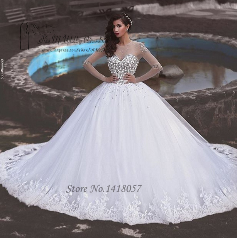 White Ball Gown Luxury Wedding Dresses 2016 Rhinestones Long Sleeve Bride Dress Wedding Gowns Lace Vestido de Noiva Princesa