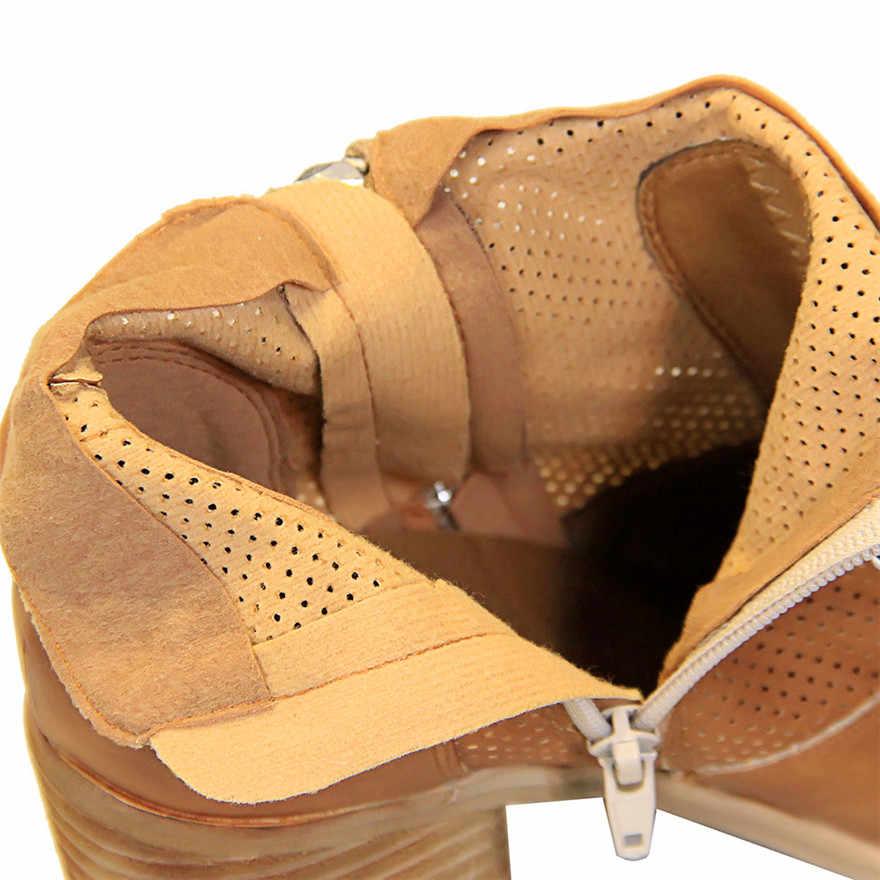 Новинка; ретро отделка под дерево; женские ботинки на толстом каблуке; кожаные ботильоны с круглым носком; повседневные женские сапоги для верховой езды на высоком каблуке с заклепками и пряжкой