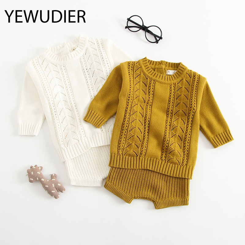 YEWUDIER Autumn and Winter Style Romper Knitted Sweater Suit Toddler Girl Clothes O-Neck Warm Baby Girls Solid Cotton Rompers