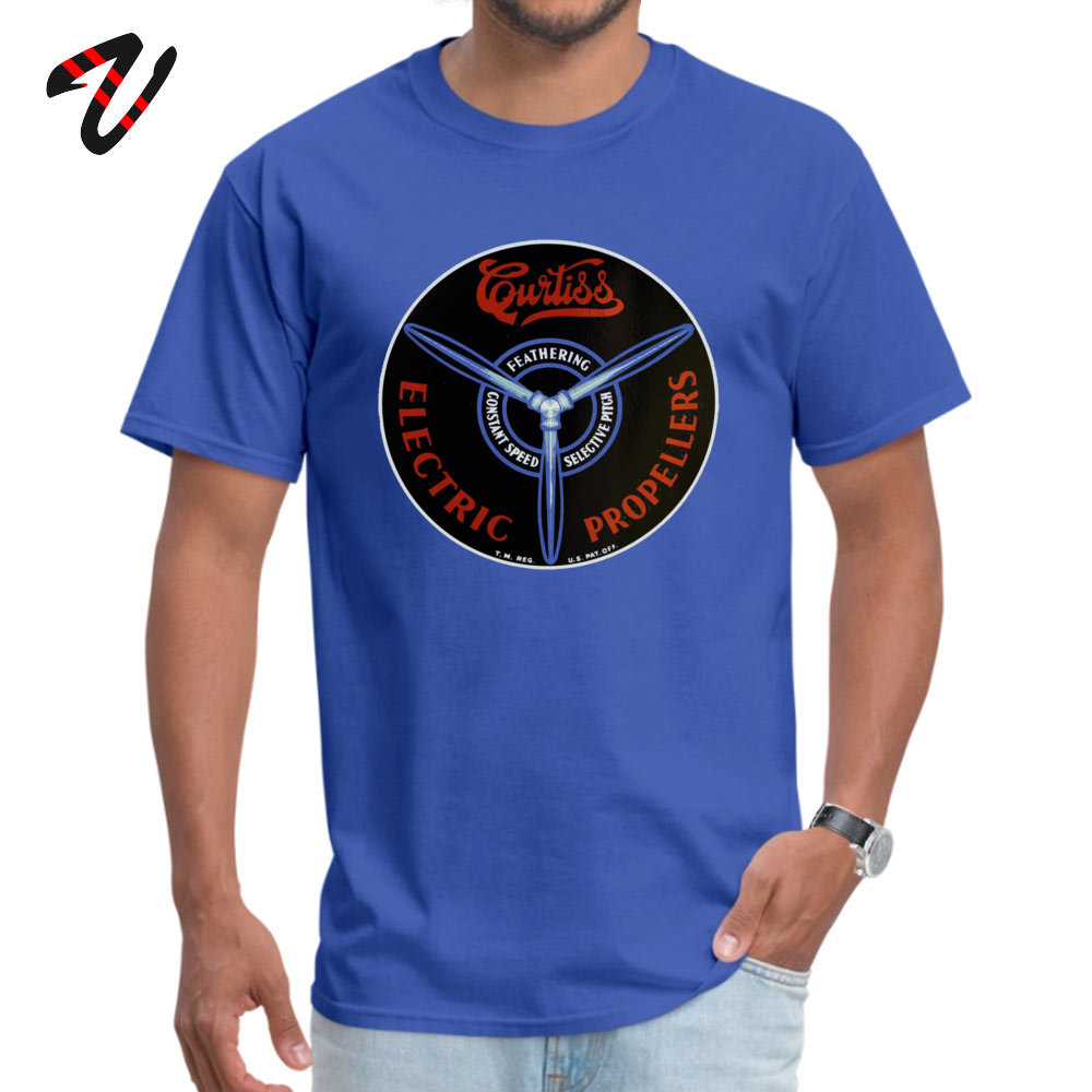 Curtiss Propeller Logo Repro 2019 Geek T Shirt Round Neck Father Day Pure Cotton Short Sleeve T-Shirt for Men Europe T Shirt Curtiss Propeller Logo Repro 1283 blue