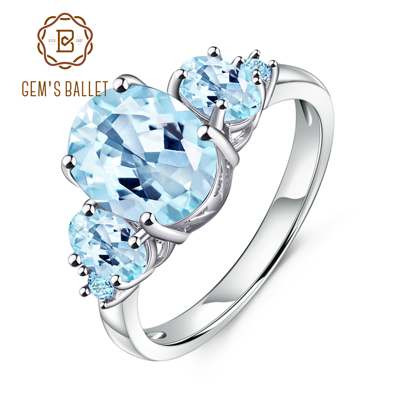 GEM'S BALLET 4.77Ct Oval Natural Sky Blue Topaz 925 Sterling Silver Gemstone Wedding Engagement Rings For Women Fine Jewelry