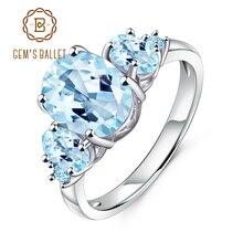 GEMS bale 4.77Ct Oval doğal Sky Blue Topaz 925 ayar gümüş taş düğün nişan yüzükleri kadınlar için güzel takı