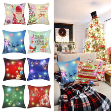 Christmas Cushion Covers Cotton Fabric Pillow Cover Ornaments Christmas Decoration
