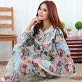 2015 Nuevo de las mujeres de algodón de manga larga dormir pijama mujer ropa de dormir señora adolescente floral Pijamas camisones pijamas ropa de dormir