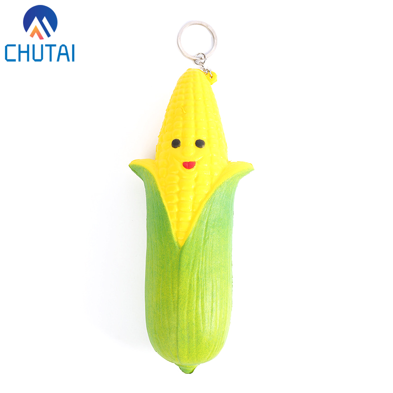 Jumbo Double-sided Expression Mr Corn Squishies PU Simulation Fruit Vegetables Phone Straps Kawaii Slow Rising Toys 17.5*5CM