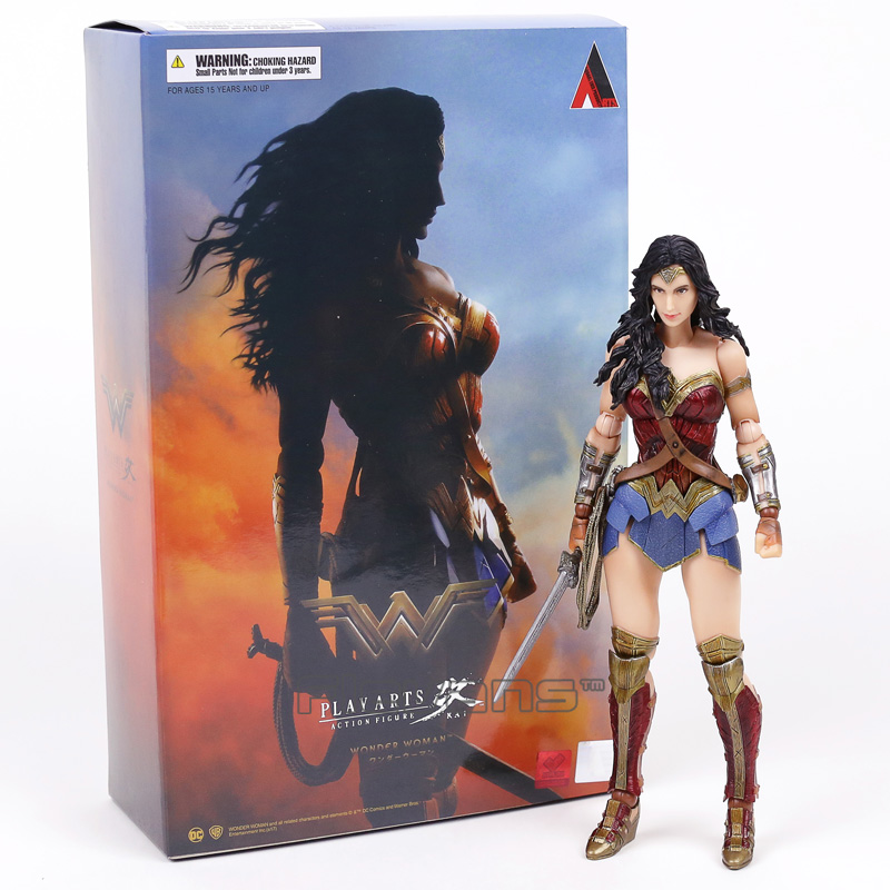 цена Genuine Original Play Arts KAI DC Justice League Wonder Woman PVC Action Figure Collectible Model Toy 23cm в интернет-магазинах