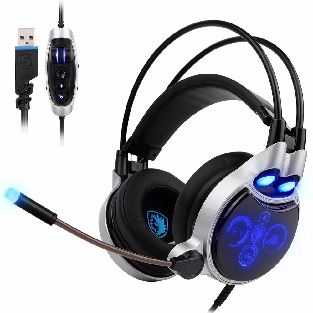 Sades SA-908 USB Physical 7.1 Surround Gaming Headset Headphones LED Lights With Microphone Vibration Volume Control For PC Game
