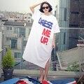 2016 primavera y el verano larga sección de la nueva de Corea Del algodón de manga corta Camiseta floja de gran tamaño Vestido de letras