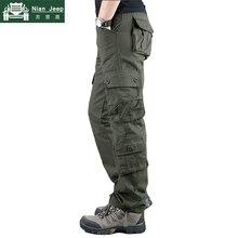 2019 New Cargo Pants Men High Quality Cotton Long Trousers Multi-pocke