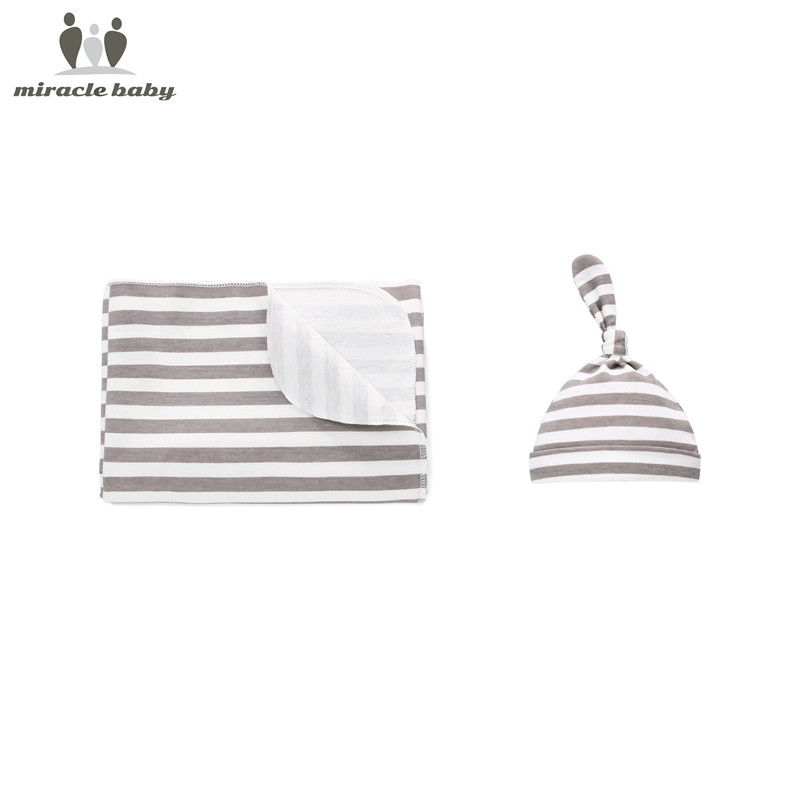 New Organic Cotton Newborn Swaddle Blanket Hats Baby Swaddle Set (Blanket Wrap With Cap) For 0-6 Months Baby Photography Props