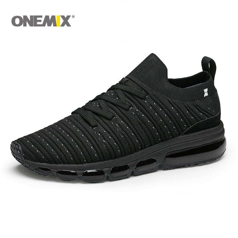 ONEMIX Slip Free Knit Men Air Running Sneakers Outdoor Jogging Shoes Light Cool Outdoor Sneakers For Walking Big Size 36-47