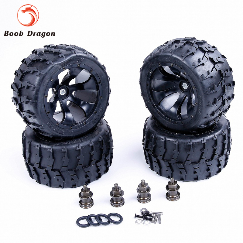 New Losi Modified Bigfoot tire assembly kit for 1/5 HPI Losi 5ive T Rovan LT King Motor X2 billet rear hub carriers for losi 5ive t
